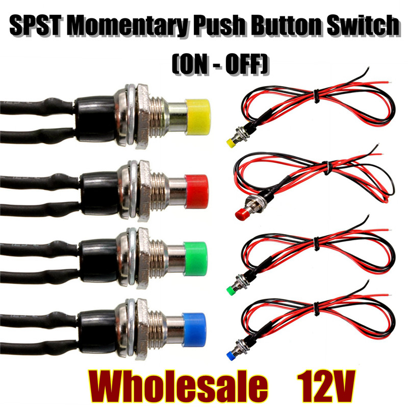 12v 10MM Mini SPST Momentary ON/OFF Push Button Switch w/ Lead Wire Hot Sale 10pcs lockless 0 5a 250v ac momentary on off 2 pin push button spst mini switch red