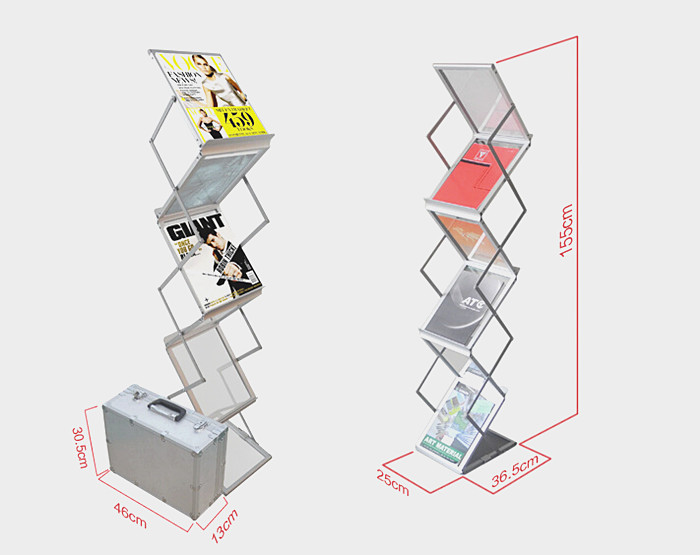 Aluminum Folding Brochures Pamphlets Books Literatures Display Holders Rack Stand By 6 Faces To Show 2pcs Quality Guaranteed
