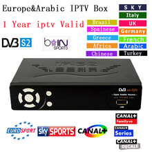 Best Satellite receiver ip-s2 plus Full HD 1080p Support DVB-S2 TV Box with 1 year free Europe/Arabic/Italian iptv package A+D