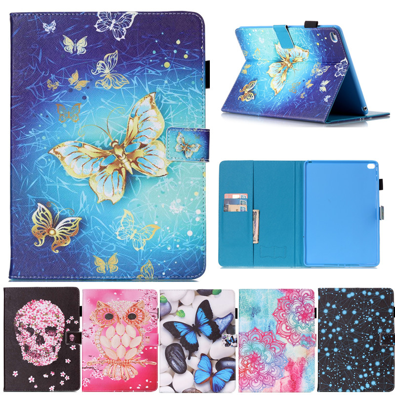 For Ipad6 9.7'' Flower Skull butterfly Pattern Flip PU Leather Stand Shell Cover Case for Apple Ipad Air 2 Ipad 6 Tablet case