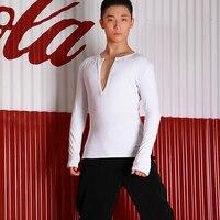 Black White Men'S Latin Dance Shirts Tops Sexy V Neck Practice Dance Clothing Summer Professional Ballroom Dancing Shirt DWY1510