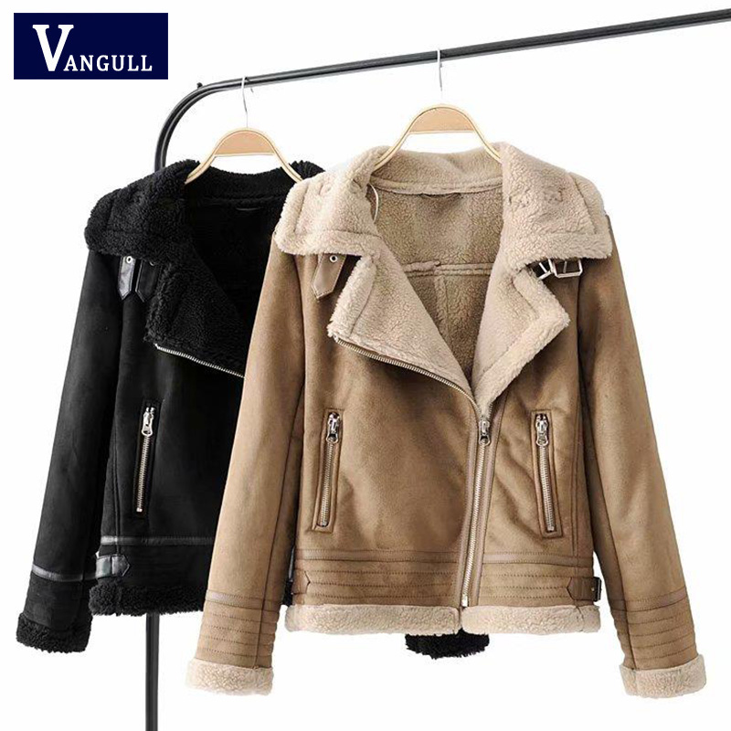 Winter   Suede   Jacket Women Fleece Lined Thick Coat 2018 Turn-Down Collar Side Zipper Warm Faux   Leather   Motorcycle Jacket Outwear