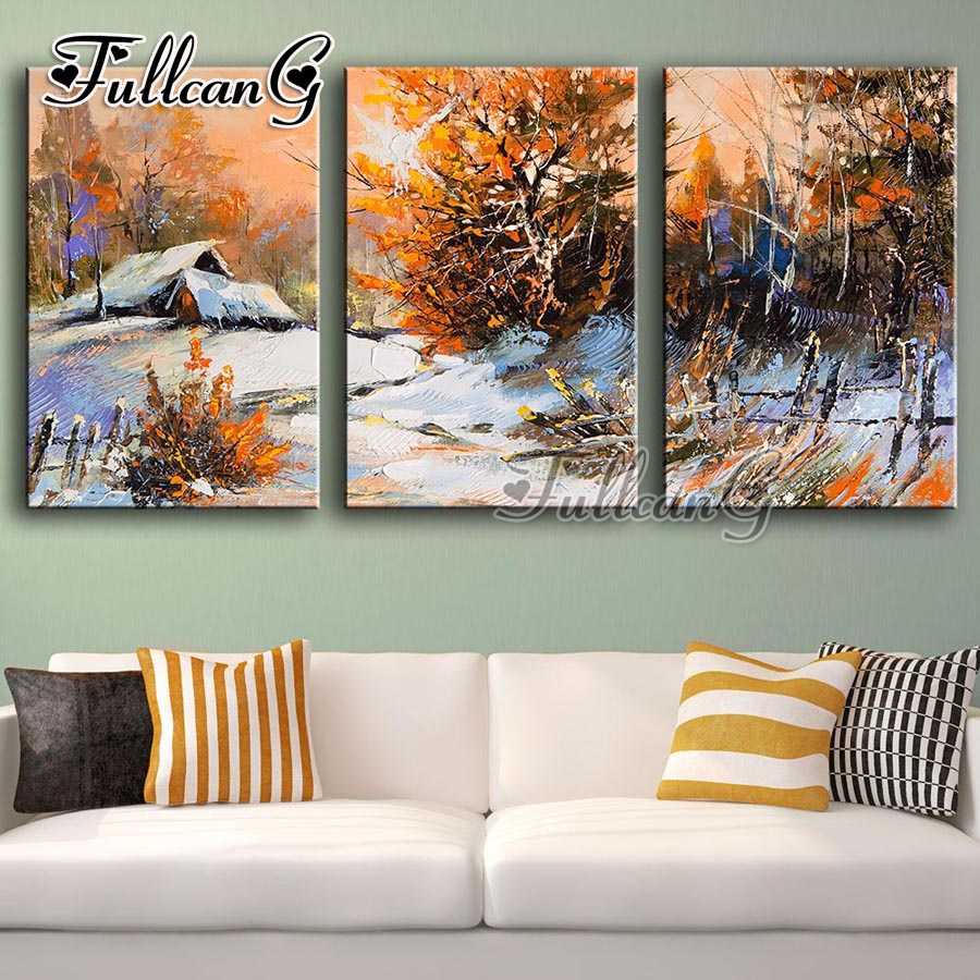 FULLCANG triptych mosaic embroidery quot winter snow scenery quot diy diamond painting cross stitch kits full square drill 3pcs G1227 in Diamond Painting Cross Stitch from Home amp Garden