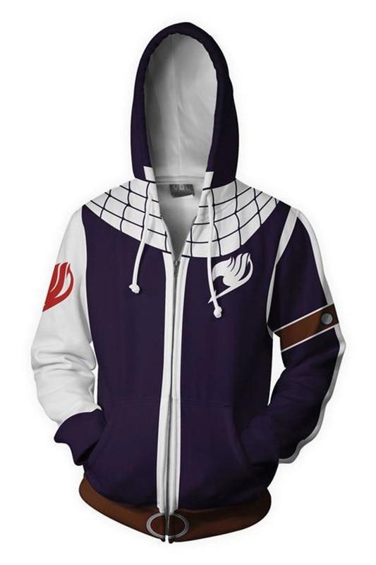 Fairy Tail Natsu Dragneel Hoodie Fairy Tail Cosplay 3D Print Sweatshirt Zipper Hooded Hoodie Sweatshirt Jackets