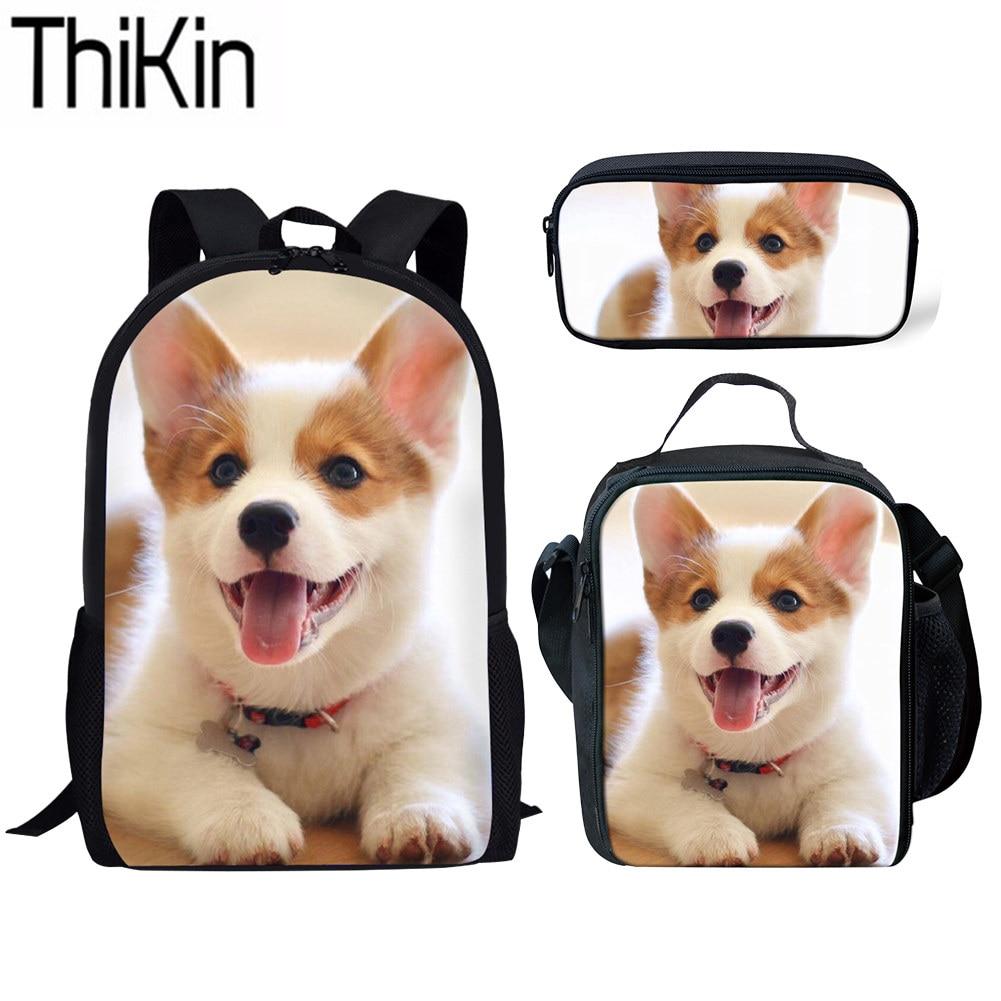 THIKIN 3D Corgi Printing School Bags For Girls Cute Puppy School Bag Children 3pcs/set Primary Schoolbag Backpack Kids Book Bag