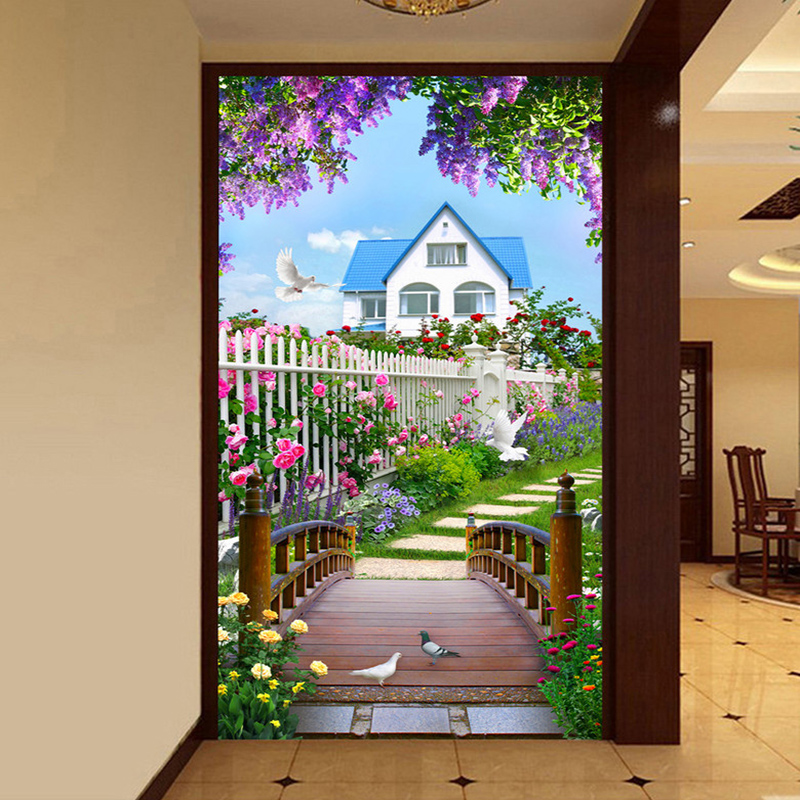 Photo Wallpaper 3D Nature Landscape Wooden Bridge Murals Living Room Restaurant Entrance Backdrop Wall Painting Papel De Parede