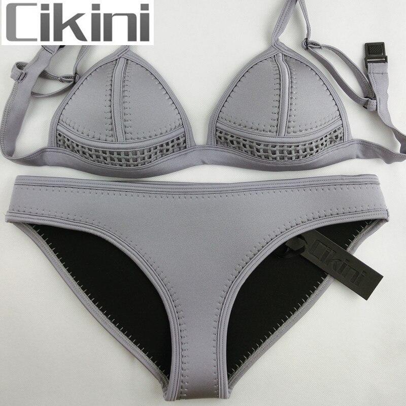 все цены на Swimwear Woman Neoprene Material Bikinis Women New Summer 2018 Sexy Swimsuit Bath Suit Bikini set Bathsuit Biquin SC03 Cikini