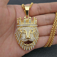 Hip Hop Charm Iced Out Bling Golden Lion Head Pendants Necklaces Male Gold Color Stainless Steel Chain Rock Jewelry Gift For Men