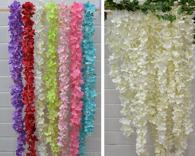 Free shipping artificial silk flower wisteria home garden hanging free shipping artificial silk flower wisteria home garden hanging flowers vine diy wedding decor shooting props mightylinksfo