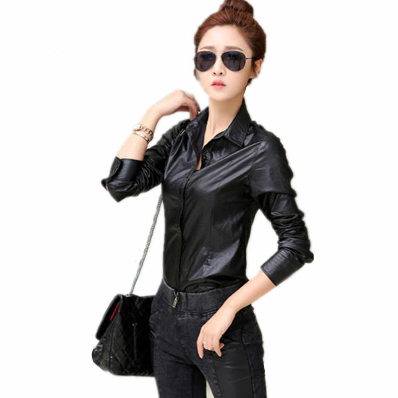 Spring New Temperament Women Blouses Solid Color Slim Long-sleeve Shirts PU Leather Plus Size Femme OL Black Elegant Tops MZ2355