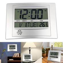 Horloge murale numérique LCD avec thermomètre, compteur de température électronique, calendrier, pour l'intérieur du bureau, décoration de la maison
