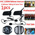 Football Referee Intercom BT Headset 4 Communicators 1200M Full Duplex Bluetooth Interphone V4C Ear Headphone Walkie Talkie 1PCS