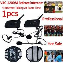 Football Referee Intercom BT Headset 4 Communicators 1200M Full Duplex Bluetooth Interphone V4C Ear Headphone Walkie Talkie 1PCS