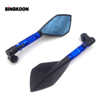 CNC Aluminum Motorcycle Rearview Mirrors Blue Glass Motorcycle Side Mirror FOR vtx 1800 benelli bn302 cb190r fz25 cbr 929 rr