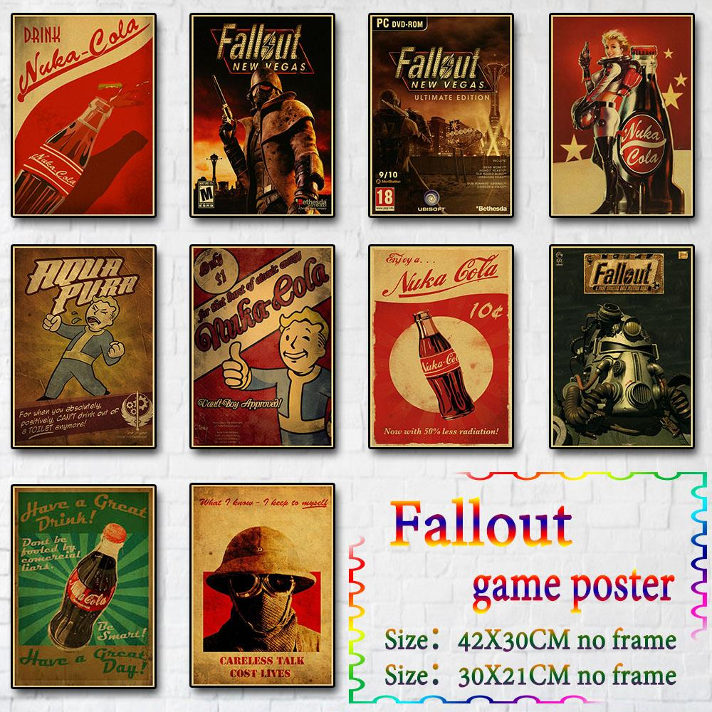 Vintage Game Posters Fallout Series Game Wall Decor Poster Picture for Home Bedroom Wall Painting Retro Kraft Paper Print Poster image