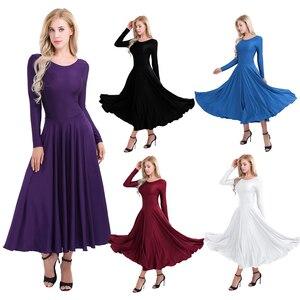 Image 2 - חדש נשים ארוך שרוול מקצועי בלרינה שלב בלט טוטו ריקוד ארוך שמלת Loose Fit עכשווי לירי ריקוד תלבושות