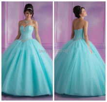 Vintage Fashion Crystal Lace Up Back Light Blue Quinceanera Dresses 2015 Ball Gowns vestidos de festa For Girls prom dress