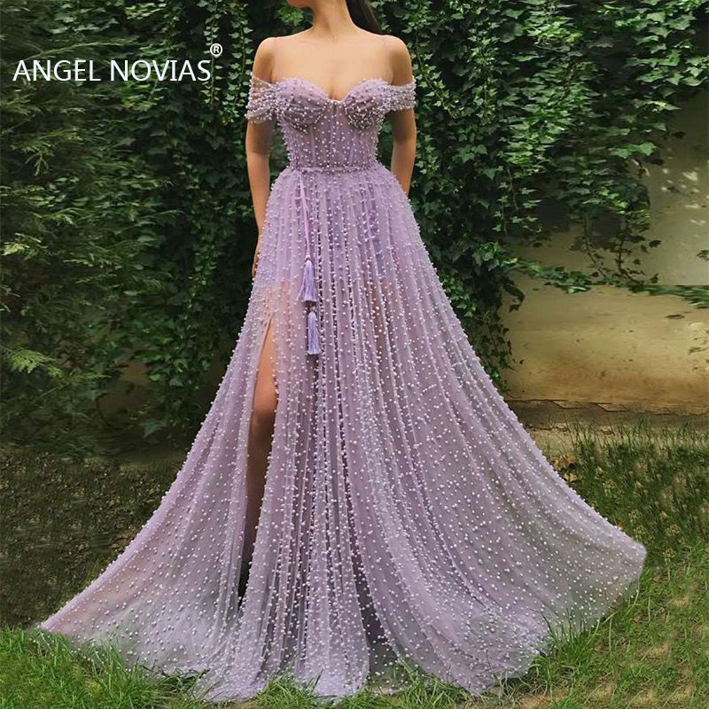 ANGEL NOVIAS Long Lavender Pearls Lace Arabic   Evening     Dress   2019 Off Shoulder   Evening   Party Gown with Slit