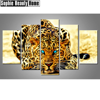 5pcs Full Square Round Drill 5D DIY Diamond Painting Aniaml Leopard Multi picture Combination 3D Embroidery Mosaic Decor