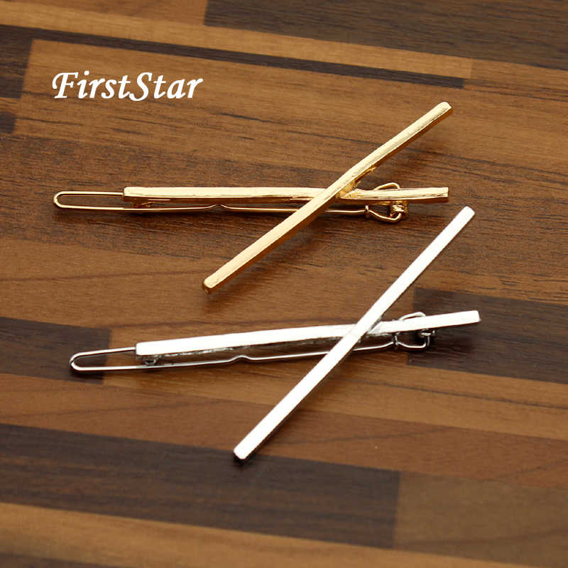 FirstStar Hair Styling Silver Gold Metal Simple Punk Hair Barrette Cross Hairpin Clip For Women Girls Headwear Accessories