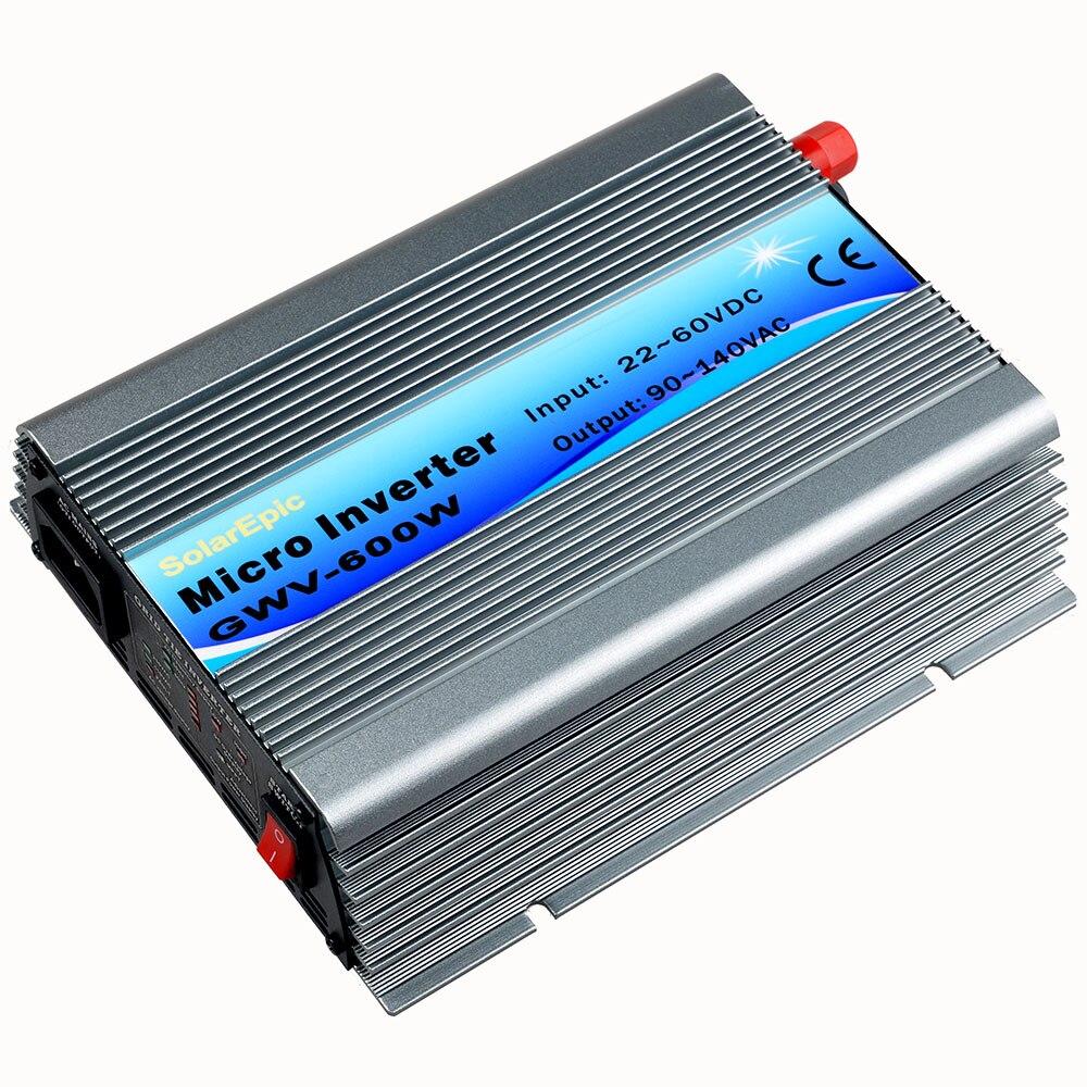 600W DC22V-60V to AC110V(90-140V) Grid Tie Inverter Use For 24V/36V 60cells/72cells Panel Pure Sine Wave Inverter 600w 20 40vdc mppt grid tie inverter for 600 720w 24v 48cells or 30v 60cells pv solar panel 90 260vac wind power inverter 600w