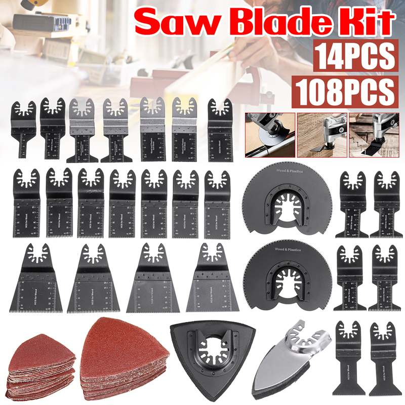 108pcs Oscillating Tool Circular Saw Blades Metal Wood Pvc Cutting For Renovator Power Tool Fein Multimaster Dremel