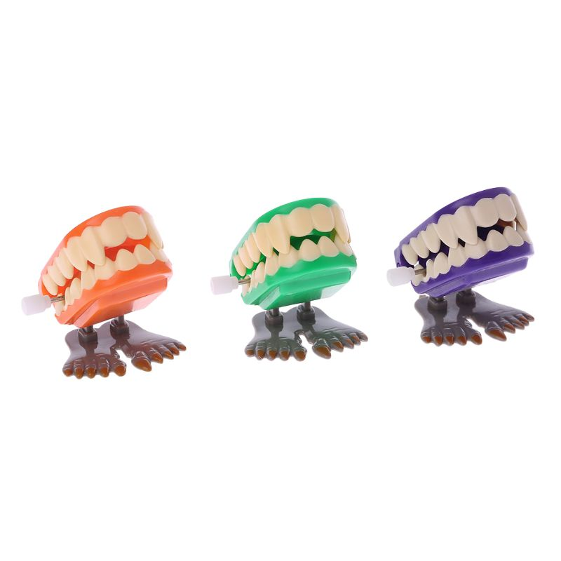 Novelty Prank Toys Funny Clockwork Jumping Denture Educational Mechanical Toys Halloween Decoration Christmas Gifts