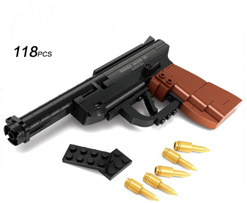 Factory sales Luger P08 pistol GUN Weapon Arms Model 1 1 DIY Model Building Blocks Christmas