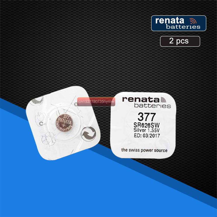 2pack Renata 377 100% Original Brand New LONG LASTING SR626SW SR626 V377 Watch Battery Button Coin Cell Swiss Made