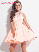 B037 Homecoming Kleider 2017 A-line Halter Perlen Kurz/Mini Tiered Kleid Satin Günstige Vestido V-ausschnitt Cocktailkleider