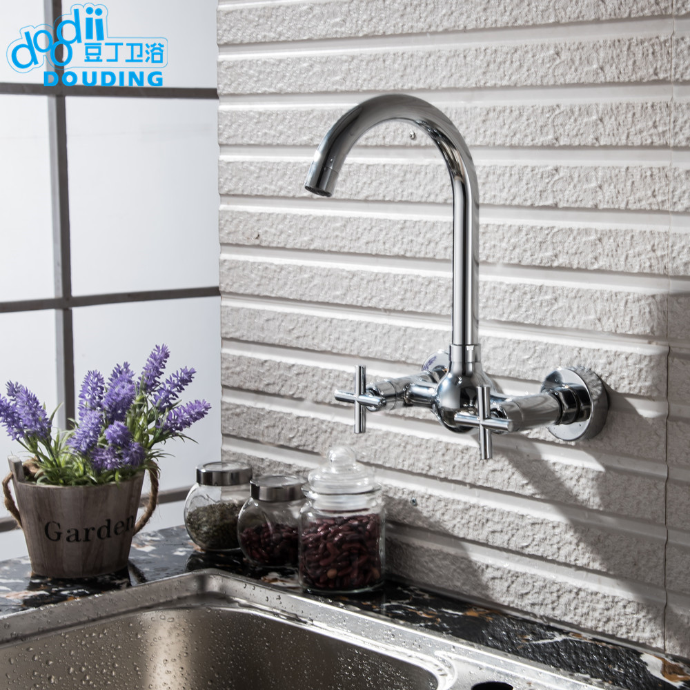 Doodii Free Shipping Wall Mounted Kitchen Faucet 2 Handles Chromed