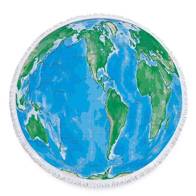 150cm World Map Print Round Beach Towel Microfiber SHOWER BATH ...