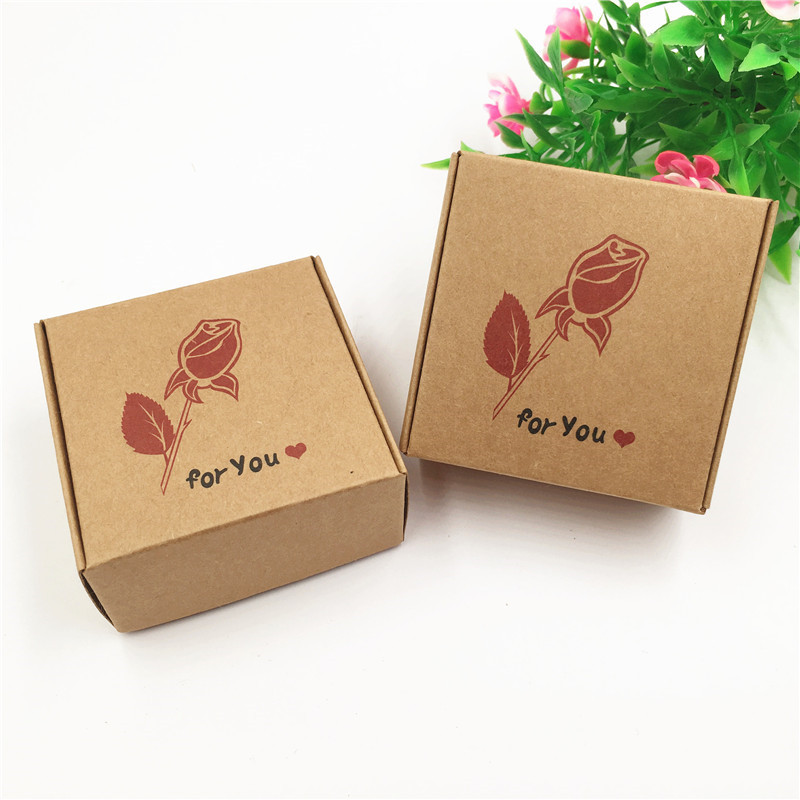 Gift Bags & Wrapping Supplies 100% True 30pcs/lot 6.5x6.5x3cm Handmade Various Patterns Brown Kraft Paper Box Add Wild Goose Rose For You Tree For Wedding Toy Gift Box Home & Garden