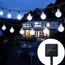 Kmashi White Solar Powered Led Outdoor String Lights 6M 30LEDs Crystal Ball Globe Fairy Light for Garden Patio Party Christmas