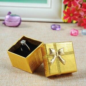 Image 5 - Jewelry Box With Black Sponge 4X4X3cm Small Square Cardboard Earrings Gift Box Fashion Jewelry Display Organizer Packaging