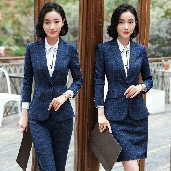 Uniforme de bureau conçoit des femmes costume d'affaires avec jupe/pantalon femmes Plaid jupe/pantalon costume 2 pièces ensembles dames vêtements de travail 4XL