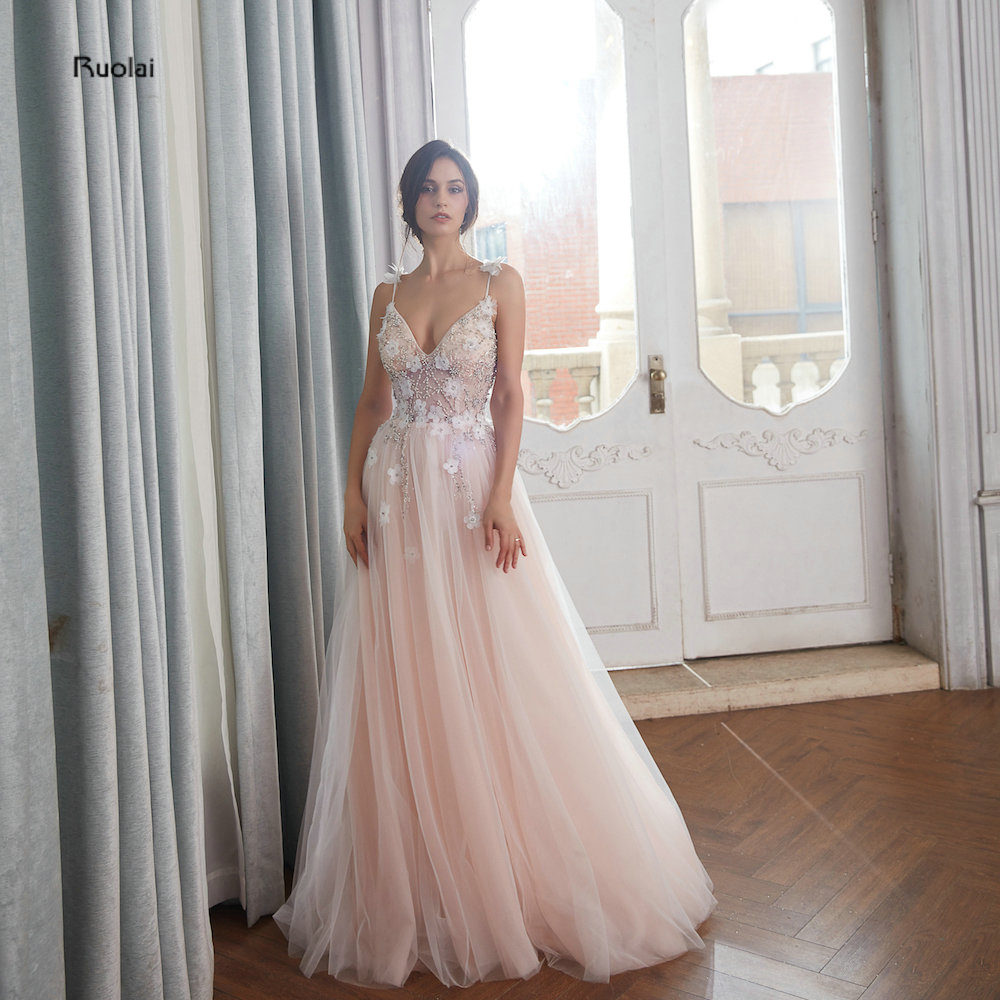 Luxury Evening Dresses Long 2018 V Neck Spaghetti Straps Beads Tulle Evening Gown For Women Party Dresses robe de soiree