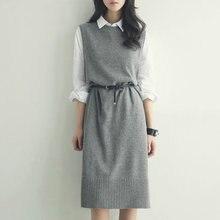 2019 nova outono inverno grosso cashmere camisola vestido feminino colete longo em torno do pescoço tricô pulôver sem mangas solto lã fêmea