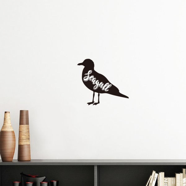 Seagull Black And White Animal Silhouette Removable Wall