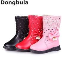 Botas altas de invierno para niña, zapatos de vestir a la moda con piel, botas de nieve para niños, botas cálidas con perlas de encaje y pajarita para chicas