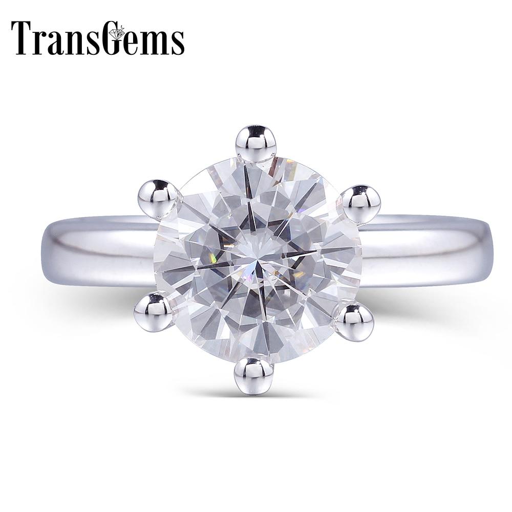 TransGems классический Муассанит Обручение кольцо для Для женщин центр 1ct 2ct 3ct 4ct F Цвет Муассанит одноцветное 14 K White Gold Ring