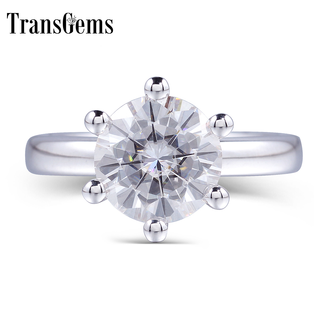 TransGems Clássico Anel De Noivado Moissanite para As Mulheres Centro 1ct 2ct 3ct 4ct Cor F 14 K Ouro Branco Moissanite Sólida anel
