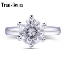 TransGems 4 carat Real Gold 14K Semi Mount Jewelry Micro Paved Prongs Setting Fine Diamond Moissanite Engagement Ring