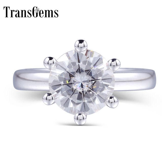 TransGems Classic Moissanite Engagement Ring for Women Center 1ct 2ct 3ct 4ct F Color Moissanite Solid 14K White Gold Ring