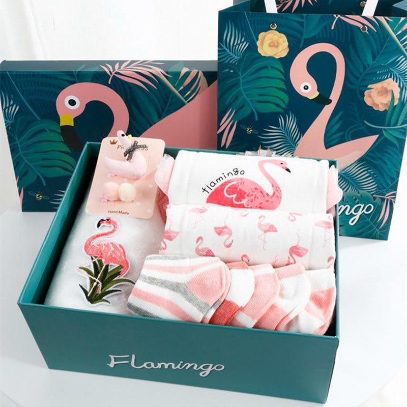 Baby Cotton Flamingo Princess Dress Set For Girls Set Gift Box Newborn Baby Girl Clothing Sets Mesh Bodysuits Outerwear Set 9pcs