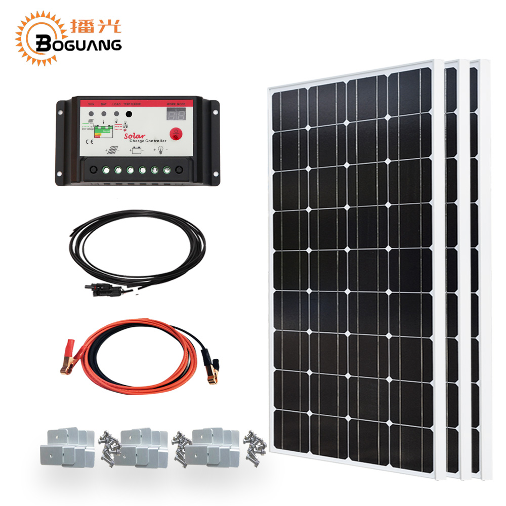 цена Boguang 300w Solar system kit 3*100w solar panel photovoltaic module PMW 10A controller MC4 cable Bracket 12v battery charger