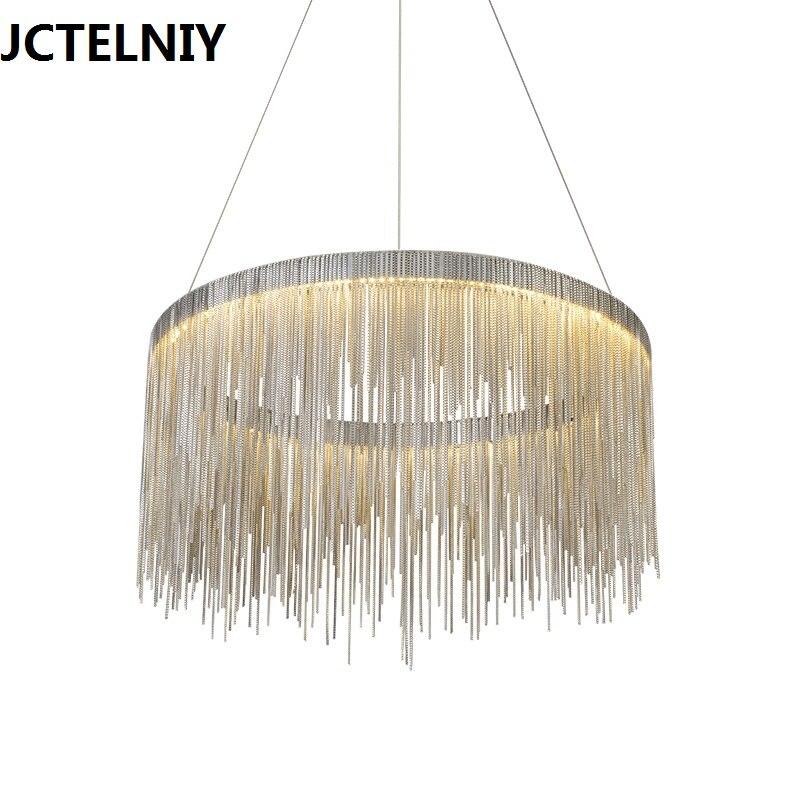 Светодиодный Роскошные кисточкой алюминиевой промышленности цепи столовая подвесной светильник ручной работы в стиле ретро лампа светиль
