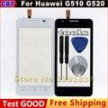 Pantalla táctil para Huawei Ascend G510 G520 G525 U8951 T8951 frontal de vidrio del digitizador envío gratis blanco