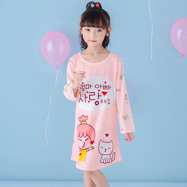 638d1e73ec77d Filles chemise de nuit enfants vêtements coton à manches longues pyjamas  robe mignon enfants Homewear chemise