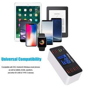 Image 5 - 40 w carga rápida 3.0 inteligente 8 portas usb carregador estação led display de carregamento rápido adaptador de energia faixa desktop para iphone samsung
